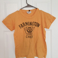 Vintage Farmington Chiefs Little League t-shirt 60s 70s baseball small XS youth