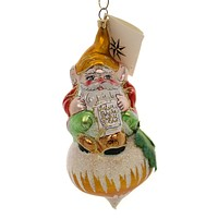 CHRISTOPHER RADKO FROSTY GNOMES Blown Glass Ornament Italian Onion 984170 Gold