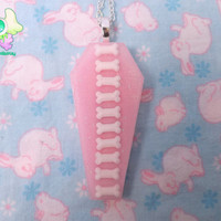 Creepy Cute Glow in the Dark Coffin Necklace - Pink