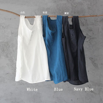 SERENELY Women Tops 2016 Summer Solid Ramie All-match Multi-button Basic Small Vest  Casual Women Tank Tops Vestidos 11 Colors
