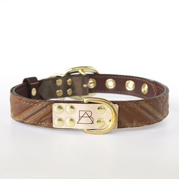 Camo Dog Collar with Brown Leather + Tan and White Stitching