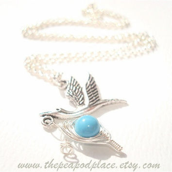 It's a Boy - Cute stork charm carrying a blue sweet pea in the pod necklace - Expectant mom - baby shower gift