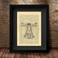 Vitruvian Man Leonardo Da Vinci Anatomy Art Print- Vintage Art Print on Tea Stained Paper, Giclee Art Print, Giclee Print, Wall Art -35