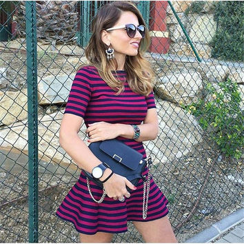 Blue and Purple Striped Short Sleeve Dress