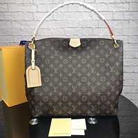 LV Louis Vuitton Tide brand classic old flower female shoulder bag Messenger bag coffee print