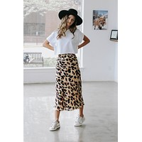 Here For It Leopard Satin Skirt