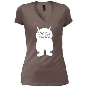 I'll Eat You Up Junior's Vintage Wash V-Neck T-Shirt