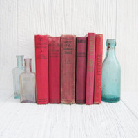 Antique Red Books, Vintage Red Book Collection, Shabby Chic Home Decor, Decorative Books Set of 6, Wedding Decor Table Setting Centerpiece