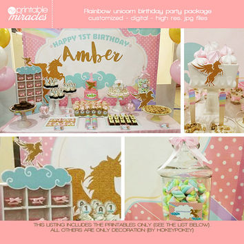 Rainbow unicorn birthday party package, Pegasus party decoration, Pink and gold winged horse birthday party