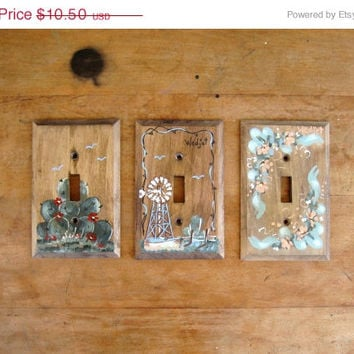 CIJ SALE SALE - 3 Hand Painted, Signed Wooden Single Light Switch Covers / Switch Plates / Cactus, Windmill, Floral / Free Us Shipping