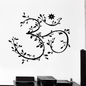 Wall Sticker Om Symbol Meditation Twigs Leaves Blossom Vinyl Decal Unique Gift (z2941)