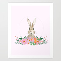 rabbit and pink camellia flower Art Print by Color and Color