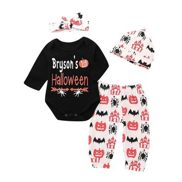 4pcs Infant Baby Boys Girls Halloween Pattern Printed Romper Pumpkin Pants Cap Hairband Autumn Cotton Outfits Clothing Sets 2018