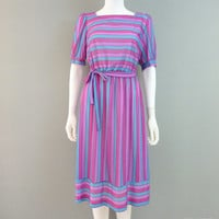 Vintage Stripe Dress Candy Colored Dress Blue Purple Magenta Dress 1980s Half Sleeve Summer Dress Small Medium