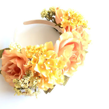 The Golden Goddess Floral Crown. Lana del Rey. Valentine's Day Flower Headband. Floral Headpiece. Statement Headband.