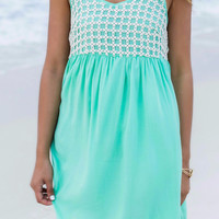 Caribbean Cruise Mint Crochet Sundress