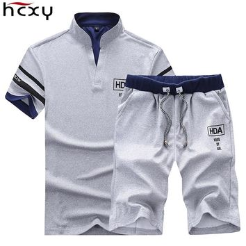 Solid Men's Shorts 4XL Summer Mens Beach Shorts and top clothes set Casual Male Shorts homme Brand Clothing