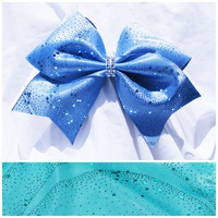 Cheer bow- Blue or Teal green glitter in wave pattern bow- cheerleading bow- cheerleader bow- dance bow- softball bow- cheerbow