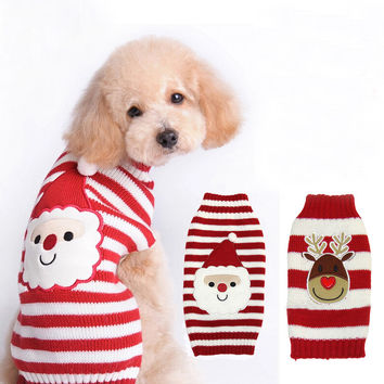 Santa Face Design Pet Dog Sweater Winter Warm Reindeer Knit Clothes for Dogs Puppy Xmas Coat Apparel Christmas Sweaters