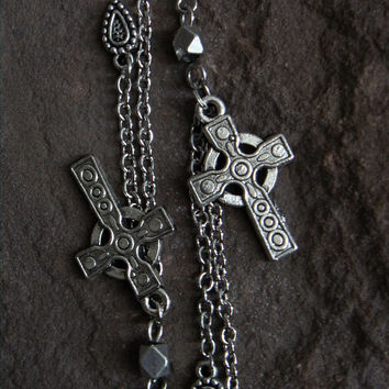 Cross Dangling Earrings Silver Long Large Cross Earrings Cross Jewelry Men Women Cross Boho Indie Biker Rocker Punk Gothic Earrings Cross