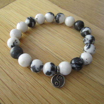 Yin and Yang Charm Bracelet with Cow Beads