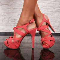 Stunning feminine stiletto shoes Coral pink * platform Uk 2 3 4 5 6 7 8 Sandal