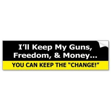 Guns, Freedom, and Money Zazzle Bumper Sticker Siz from Zazzle.com