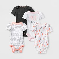 Baby Girls' 4pk Short Sleeve Bodysuit White/Gray - Cloud Island™