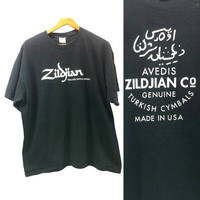 Vintage Zildjian Cymbals T Shirt, Turkish Made in the USA, Avedis, XL, Vintage 90s Grunge, Music T-Shirt, Drums, Percussion, Drummer