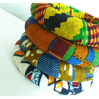 Wax Printed African Fabric Wrapped Bangles, 0.75in