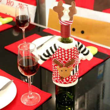 1PC Merry Christmas Table Decoration Red Wine Champagne Cover Bags Lovely Reindeer Bottle Cover Bags Christmas Gift