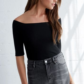 Me To We Off-The-Shoulder Ribbed Top at PacSun.com