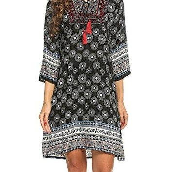 Halife Women Vintage 3 4 Sleeve Bohemian Beach Ethnic Printed Loose Tunic Dress Black S
