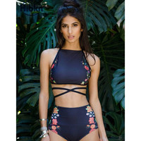 Floral crop tops bikini crisscross swimsuit high waisted bikini halter swimwear high waist bathing suit bandage swim suit -03125