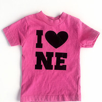 Girls Nebraska Shirt - I Heart NE - I Love Nebraska - Girls Tshirt - Pink Nebraska Shirt - 12 month shirt