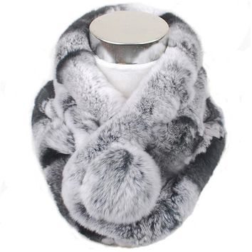 Valpeak Women Scarf  Winter 2017 Brand Luxury Knitted Female Real Rex Rabbit Fur Scarf Collar Warm Neck Color Pompoms