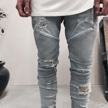 High-quality represent clothing designer pants blue/black destroyed mens slim denim straight biker skinny jeans men ripped jeans