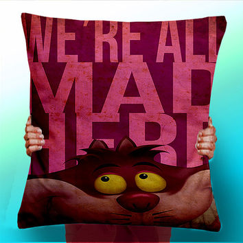 Alice In Wonderland - We're All Mad Here - Cheshire Cat - Cushion / Pillow Cover / Panel / Fabric