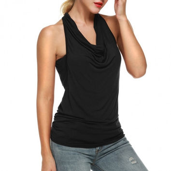 Women Cowl Neck Backless Solid Ruched Twinset Tank Tops