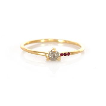Salt & Pepper Diamond and Ruby Mirage Ring