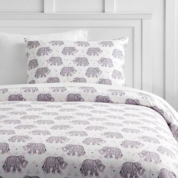 Winter Elephant Flannel Duvet Cover + Sham