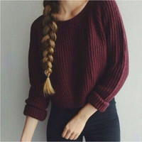 Women Fashion Casual O-neck Long Sleeve Pullover Minilmalist Knit Wear Sweater (Size: L, Color: Wine red) = 1945933892