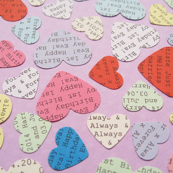 500 Personalised Heart Confetti / Customized Hearts / Various Colour Choices / Wedding, Table Decor