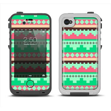 The Lime Green & Coral Tribal Ethic Geometric Pattern Apple iPhone 4-4s LifeProof Fre Case Skin Set