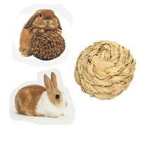 Pet Hamster Rabbit Grass Ball Toy Mice Gerbil Mini Animal Attractive Exercise Natural Funny Play Molar Teeth Toys 9.5cm 3.7''