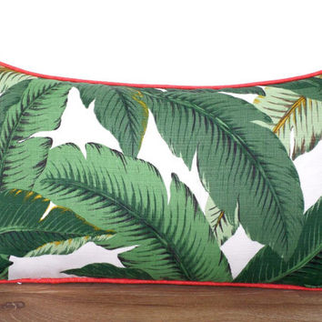 Swaying palm leaf pillow cover outdoor fabric, dark green and coral outdoor cushion, tropical pillow palm leaf, Palm Beach decor