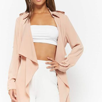 Draped Open-Front Trench Coat