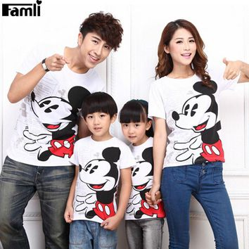 T-shirts  4pcs set Family Outfits Summer Fashion Cartoon Mickey Mouse