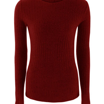 Burgundy Tie Up Back Tight Ribbed Knit Sweater