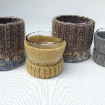 Felted Wool Sweater Candle Cozy Set of 4 Tealight Holder yellow grey brown Home Decor (085.2)